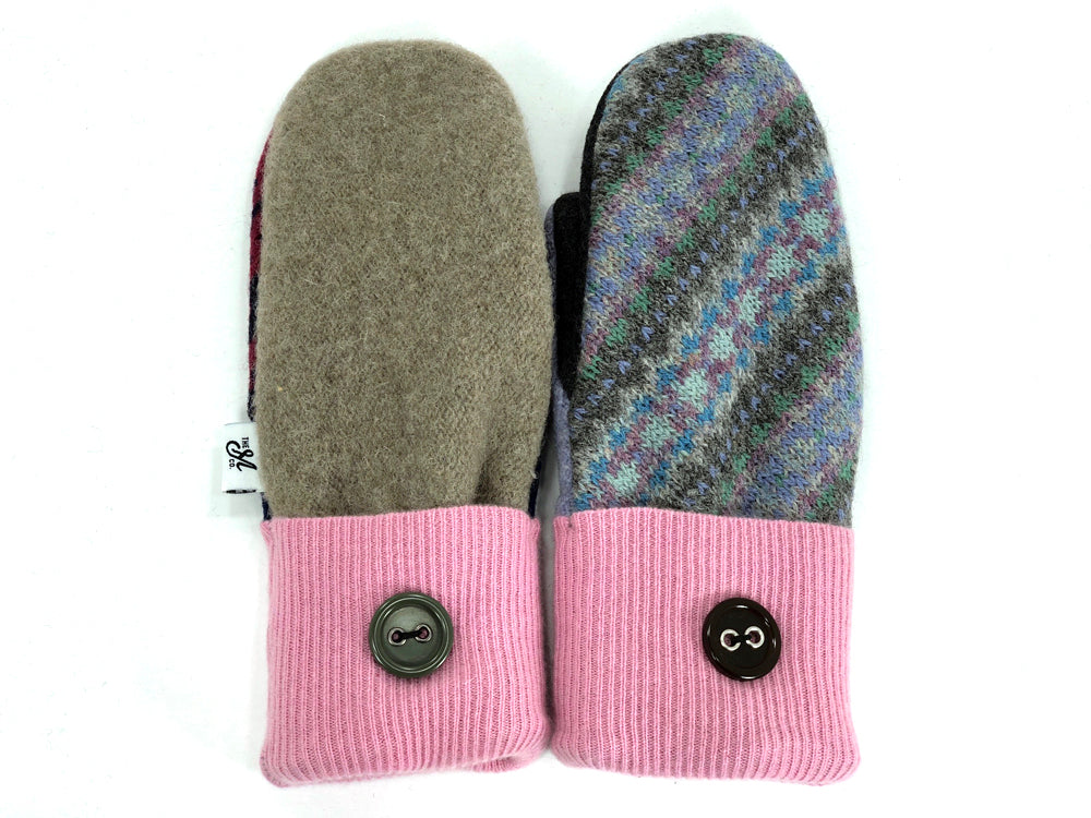 Pink-Brown-Blue Patchwork Women's Wool Mittens - Large- 1959