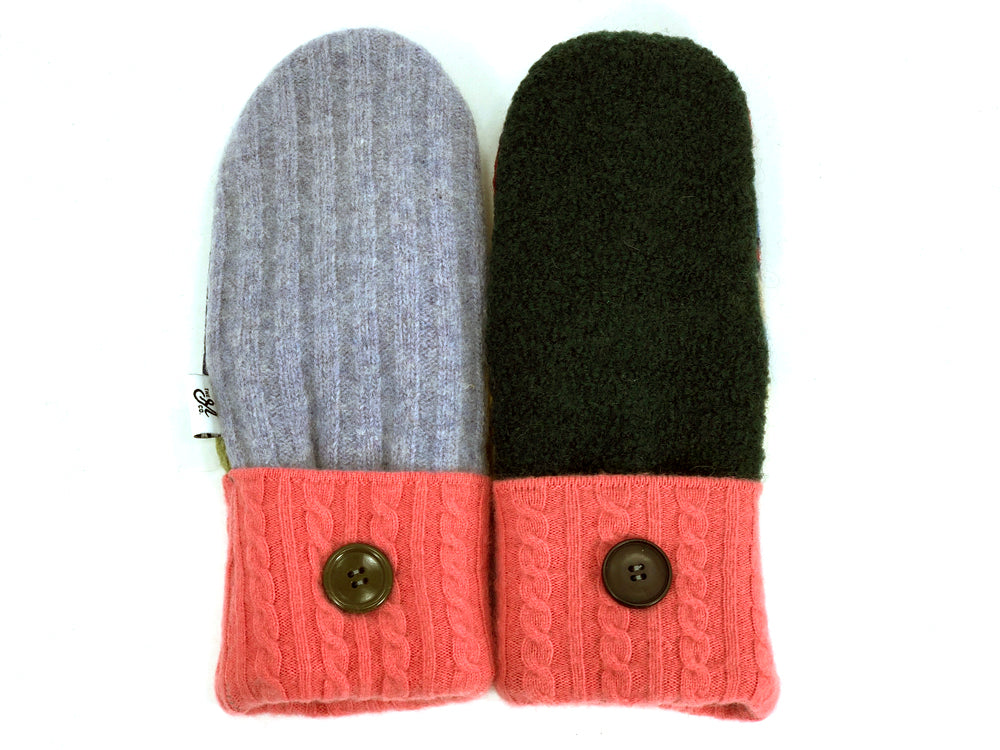 Pink-Green-Blue Patchwork Women's Wool Mittens - Large- 1960