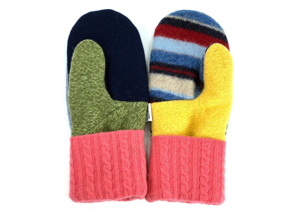 Pink-Green-Blue Patchwork Women's Wool Mittens - Large- 1960-Womens-The Mitten Company