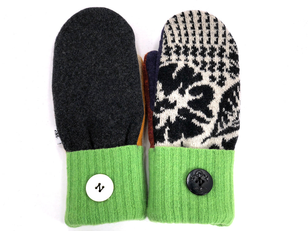 Green-Black-Gray Patchwork Women's Wool Mittens - Large- 1961