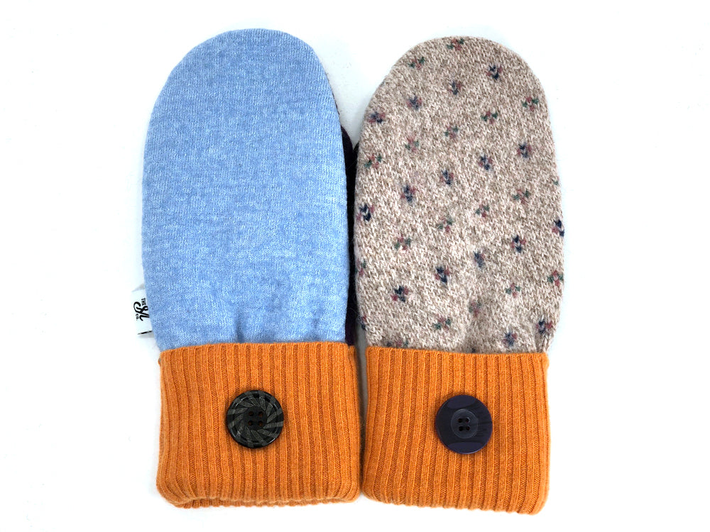 Orange-Tan-Blue Patchwork Women's Wool Mittens - Large- 1962
