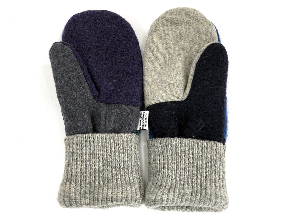 Gray-Black-Blue Patchwork Women's Wool Mittens - Large- 1964