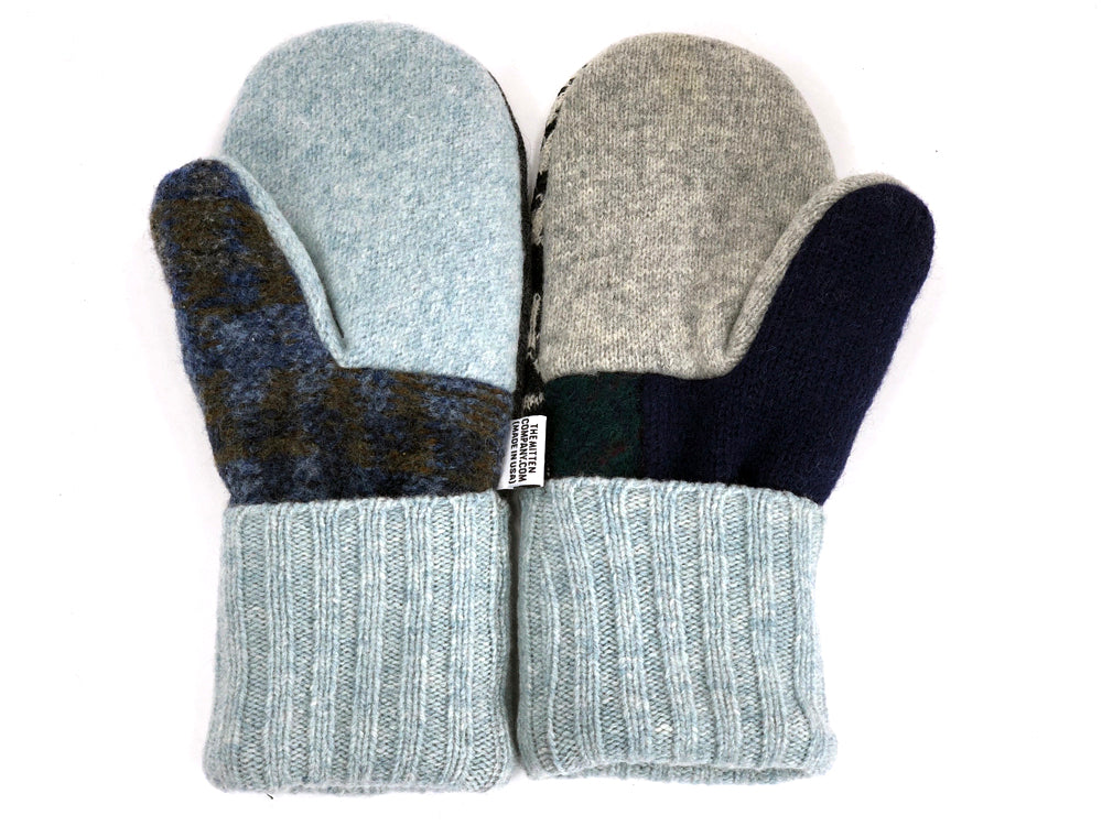 Blue-Gray-Black Patchwork Women's Wool Mittens - Large- 1966 - The Mitten Company
