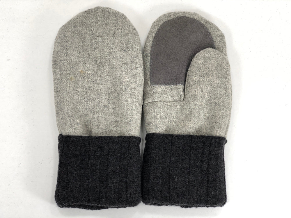 Gray-Beige Men's Wool Driver's Mittens - Large - 1971