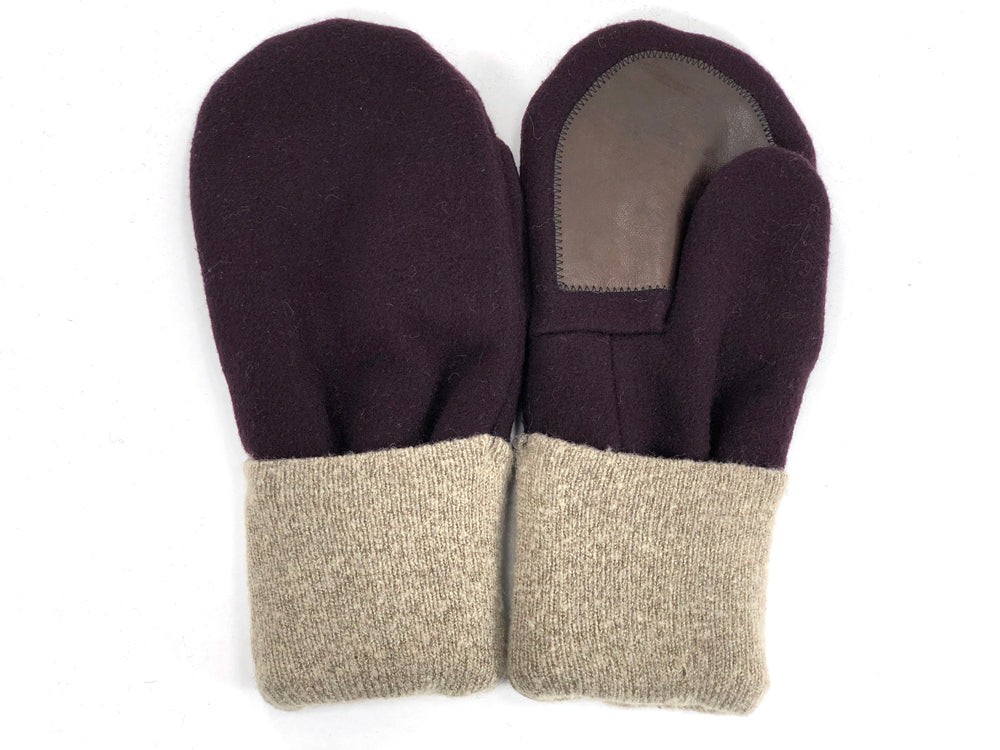 Burgundy-Beige Men's Wool Driver's Mittens - Large - 1983