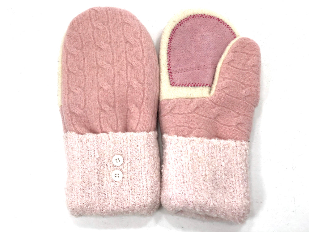 Pink-White Shetland Wool Women's Drivers Mittens - Medium - 1993