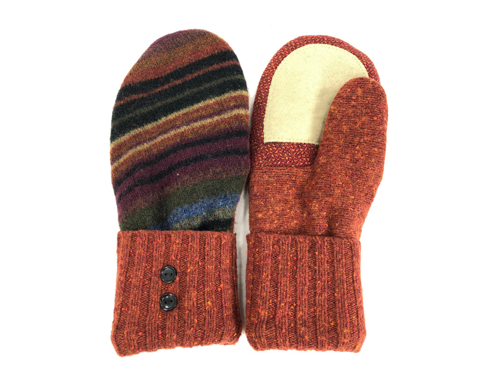 Orange-Rust-Black Lambs Wool Women's Drivers Mittens - Large - 2021