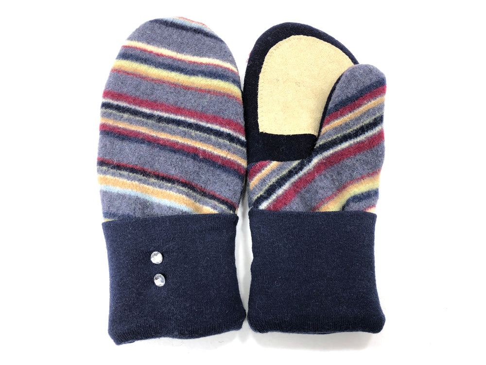 Blue-Rust Lambs Wool Women's Drivers Mittens - Large - 2023-Womens-The Mitten Company