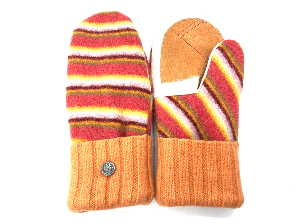 Orange Lambs Wool Women's Drivers Mittens - Large - 2026