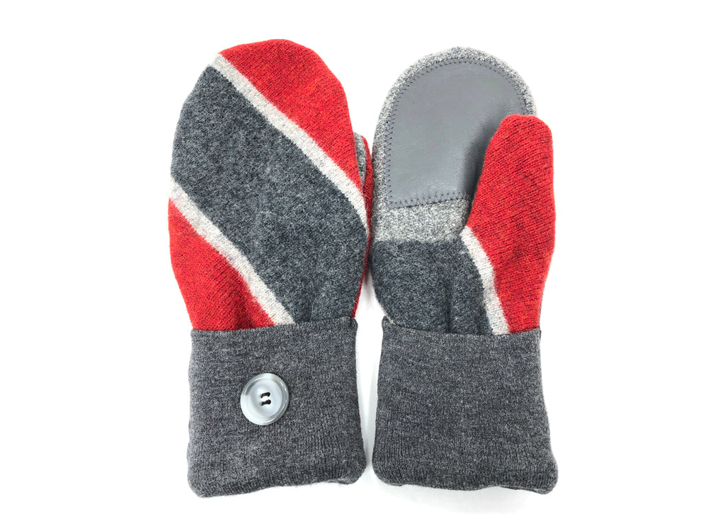 Red-Gray Lambs Wool Women's Drivers Mittens - Large - 2027