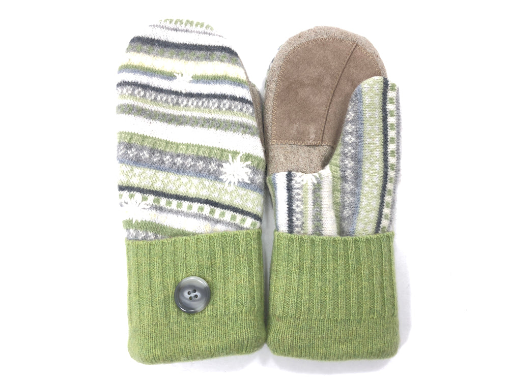 Green Lambs Wool Women's Drivers Mittens - Large - 2031