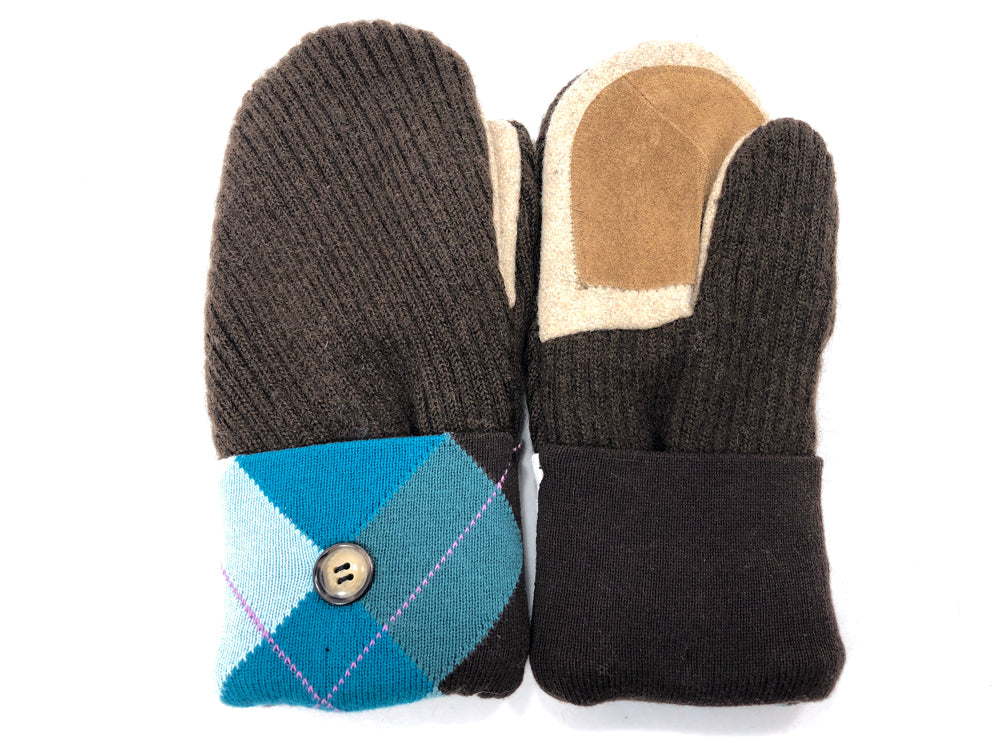 Blue-Brown Merino Wool Women's Driver's Mittens - Medium - 2033-Womens-The Mitten Company