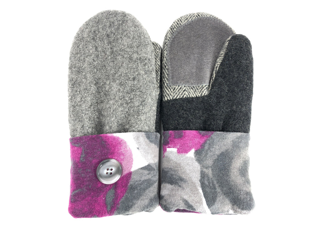 Pink-Gray Merino Wool Women's Driver's Mittens - Medium - 2035