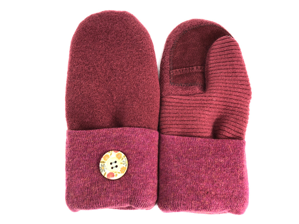 Pink-Rust Merino Wool Women's Driver's Mittens - Medium - 2037