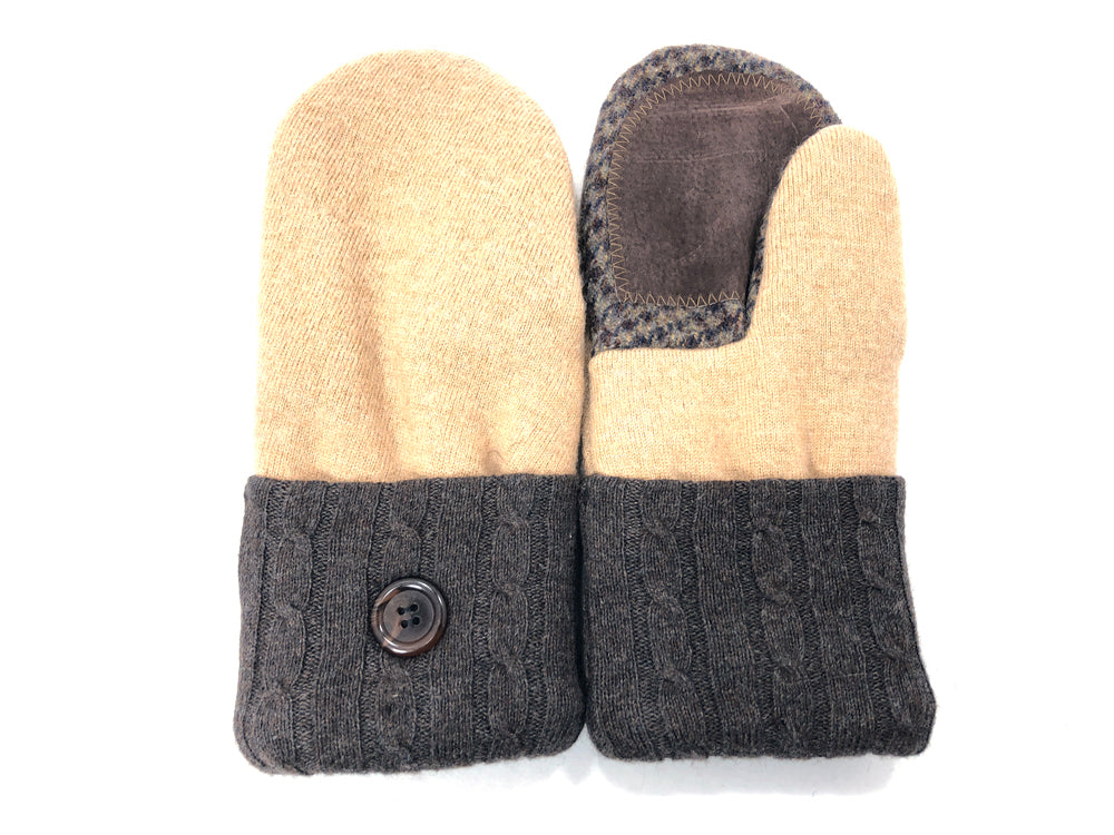 Brown-Tan Merino Wool Women's Driver's Mittens - Medium - 2041