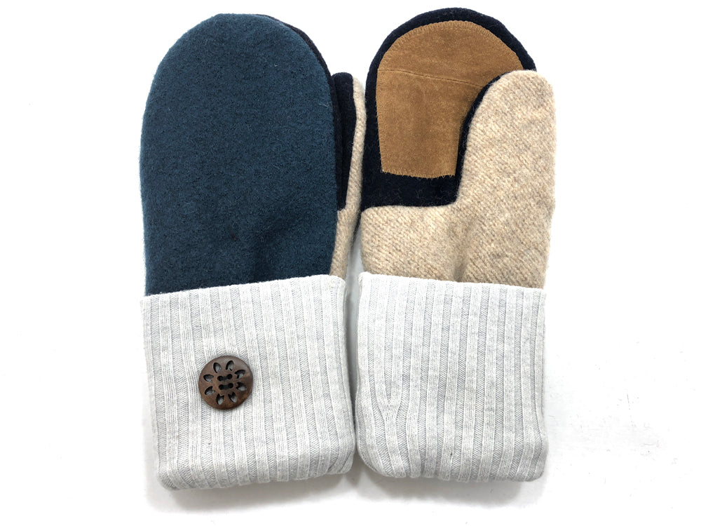 Blue-Gray-Tan Merino Wool Women's Driver's Mittens - Medium - 2042 - The Mitten Company