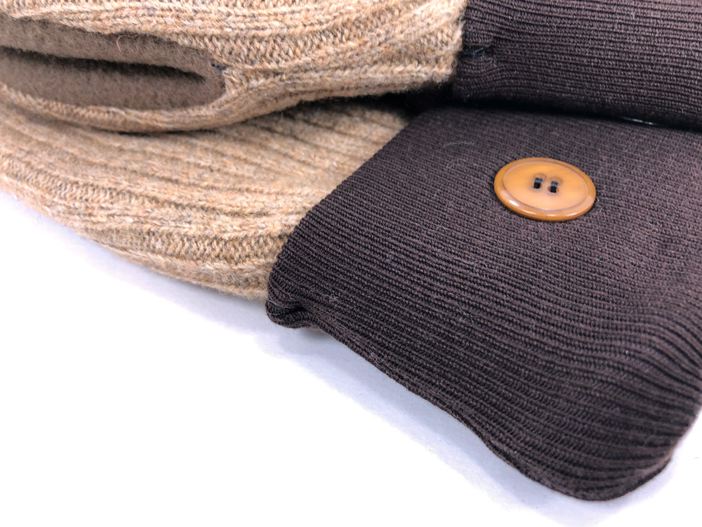 Brown-Beige Merino Wool Women's Driver's Mittens - Medium - 2044