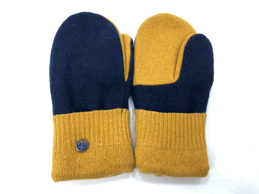 Blue-Gold Merino Wool Women's Mittens - Medium - 2048 - The Mitten Company