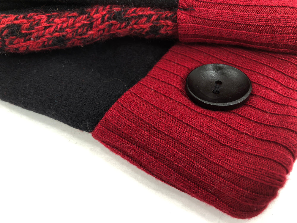 Red-Black Merino Wool Women's Mittens - Medium - 2056-Womens-The Mitten Company