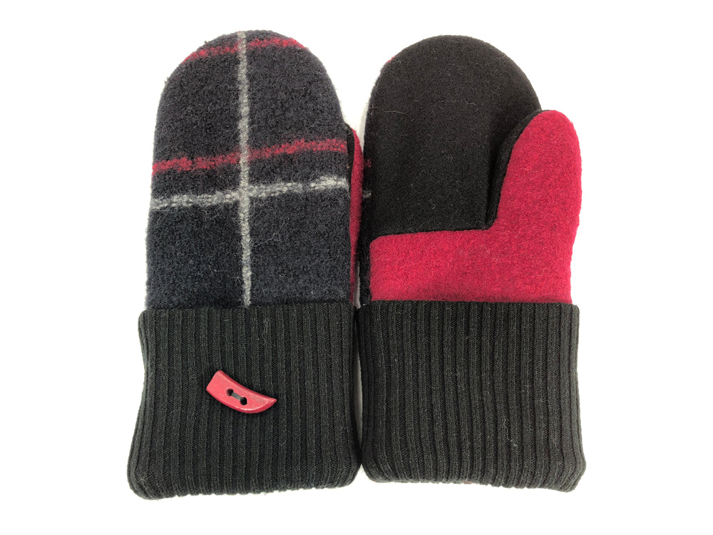 Black-Gray-Red Boiled Wool Women's Mittens - Medium - 2063 - The Mitten Company