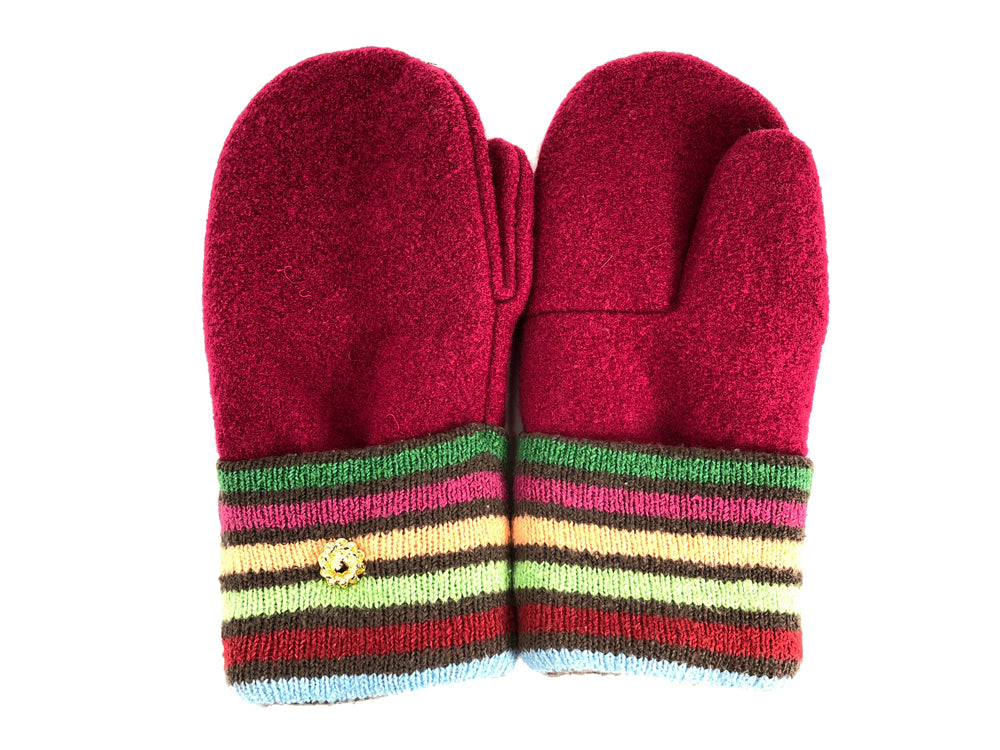 Red-Green-Yellow Boiled Wool Women's Mittens - Medium - 2065