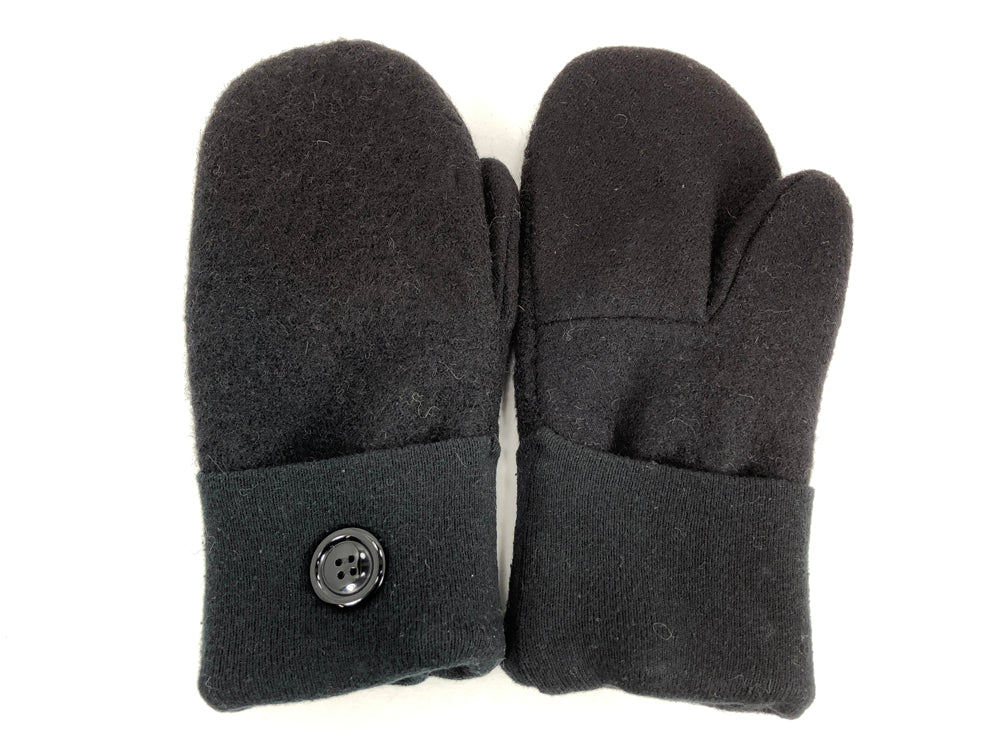 Black Boiled Wool Women's Mittens - Medium - 2066 - The Mitten Company
