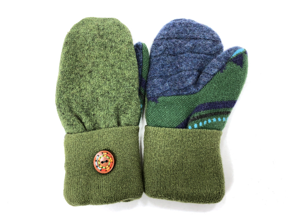 Green-Blue Lambs Wool Women's Mittens - Medium - 2073