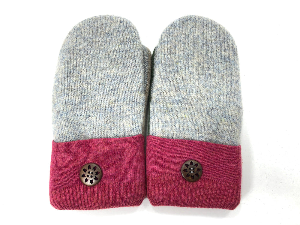 Burgundy-Green-Gray Lambs Wool Women's Mittens - Medium - 2075