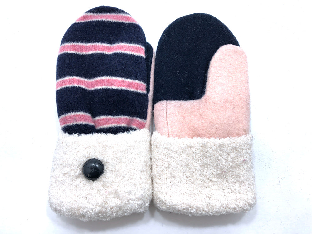 Pink-Blue-White Lambs Wool Women's Mittens - Medium - 2076