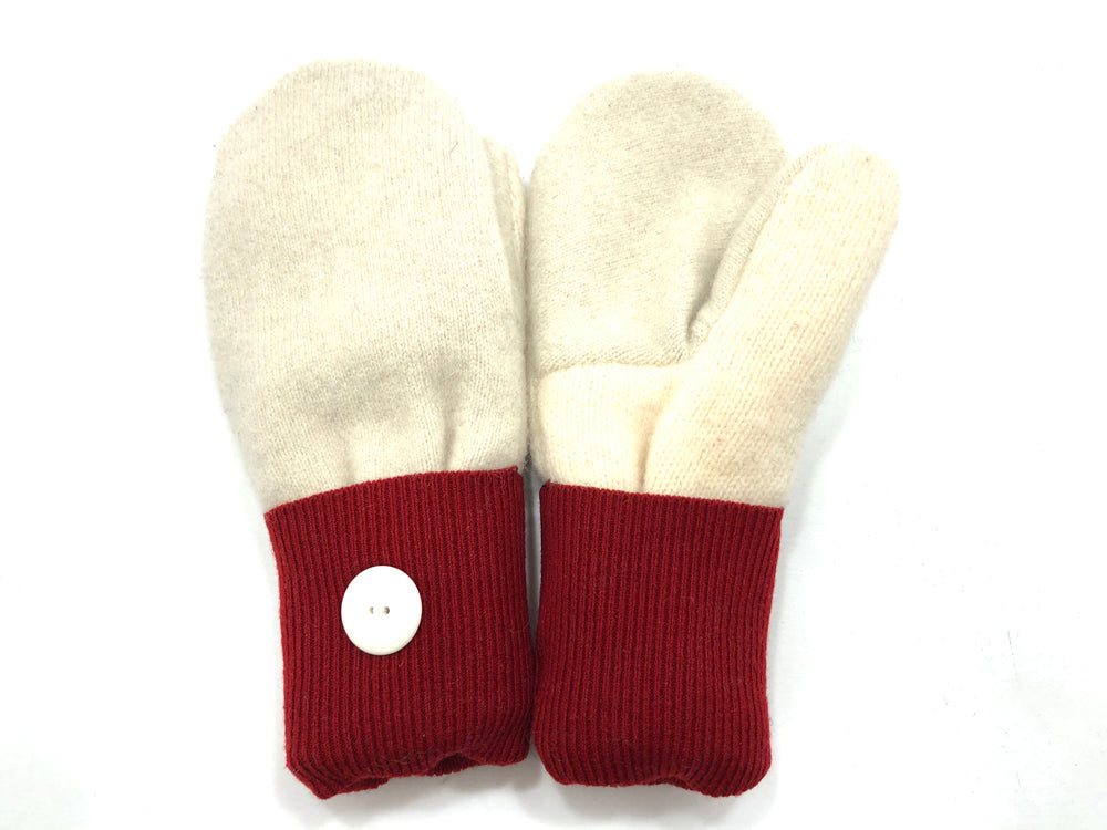 Red-White Lambs Wool Women's Mittens - Medium - 2078