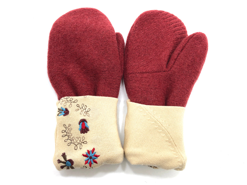 Rust-Tan Lambs Wool Women's Mittens - Medium - 2079