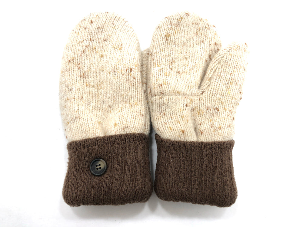 Brown-Tan Lambs Wool Women's Mittens - Medium - 2082