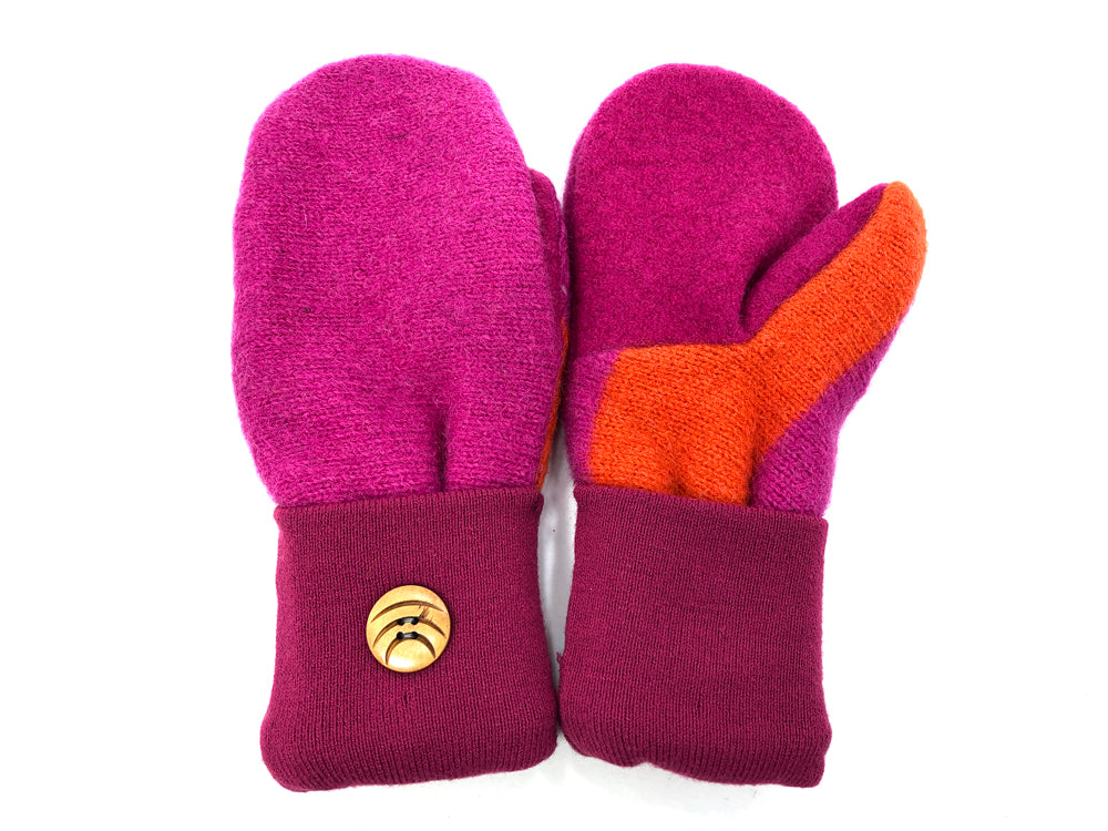 Pink-Orange Lambs Wool Women's Mittens - Medium - 2084