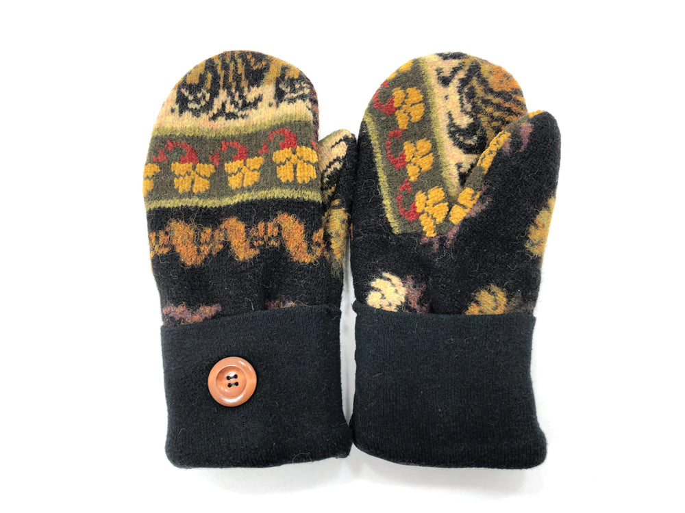 Black-Green-Brown Shetland Wool Women's Mittens - Medium - 2086 - The Mitten Company