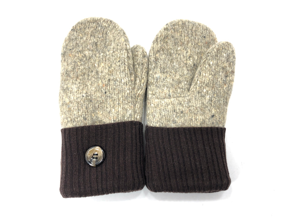 Brown-Beige Shetland Wool Women's Mittens - Medium - 2087