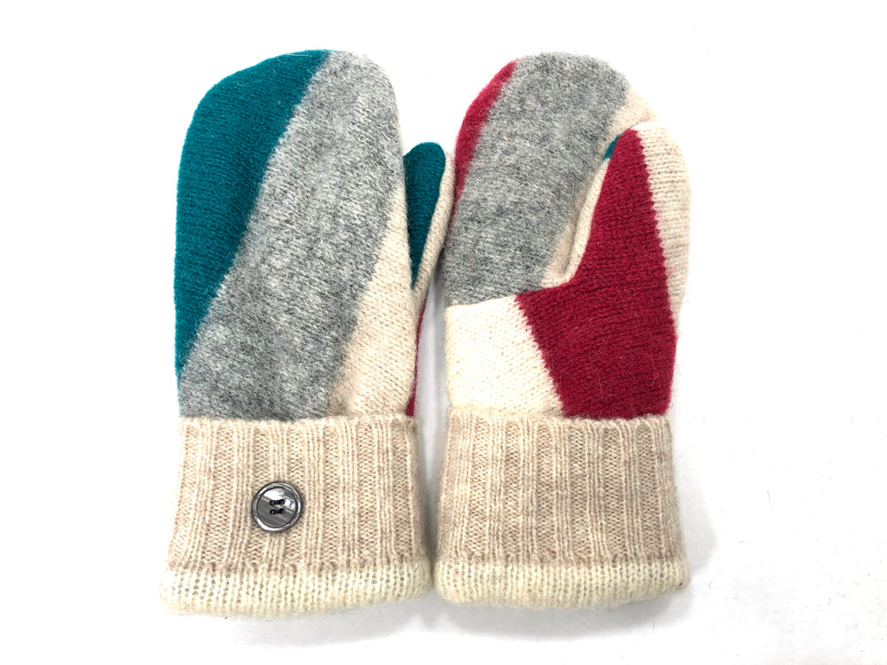 Tan-Gray-Blue Shetland Wool Women's Mittens - Medium - 2088