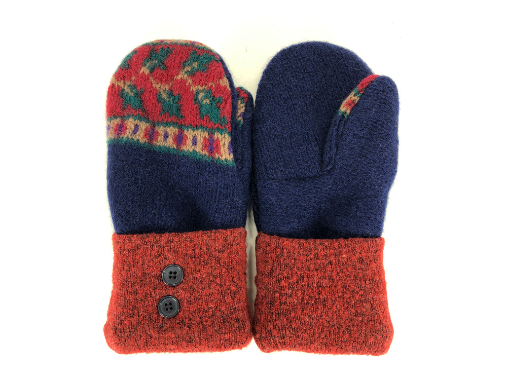 Blue-Red-Green Shetland Wool Women's Mittens - Medium - 2090 - The Mitten Company