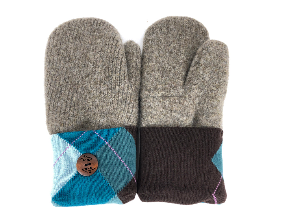 Gray-Blue-Brown Shetland Wool Women's Mittens - Medium - 2091