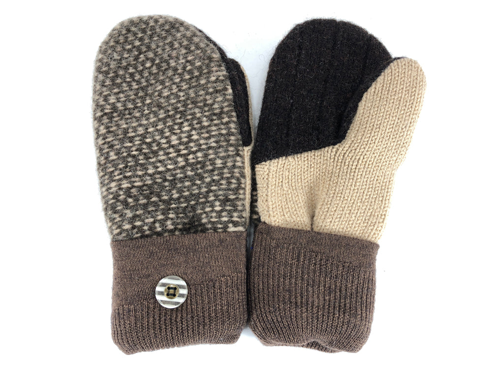 Brown-Tan Shetland Wool Women's Mittens - Medium - 2094