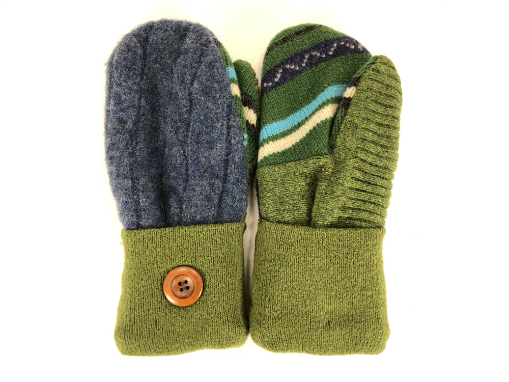 Green-Blue Shetland Wool Women's Mittens - Medium - 2095
