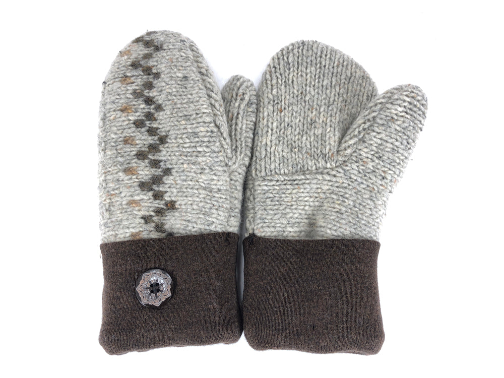 Brown-Tan Shetland Wool Women's Mittens - Medium - 2097