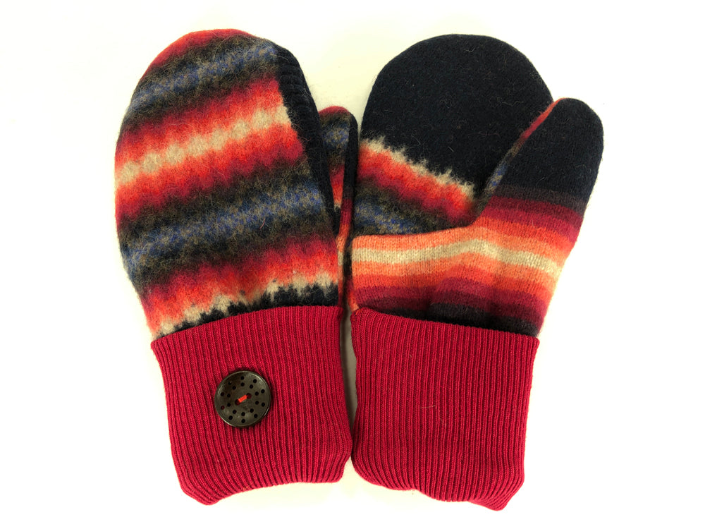 Red-Black-Orange Women's Lambs Wool Mittens - Medium - 2100-Womens-The Mitten Company