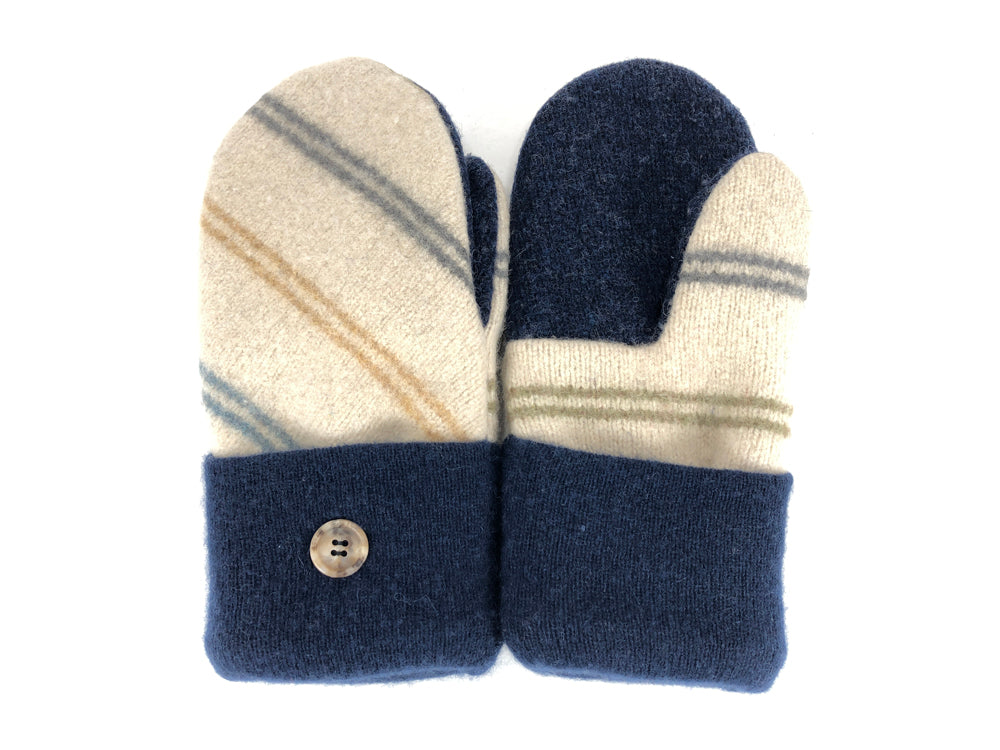 Blue-Tan Women's Lambs Wool Mittens - Medium - 2102 - The Mitten Company
