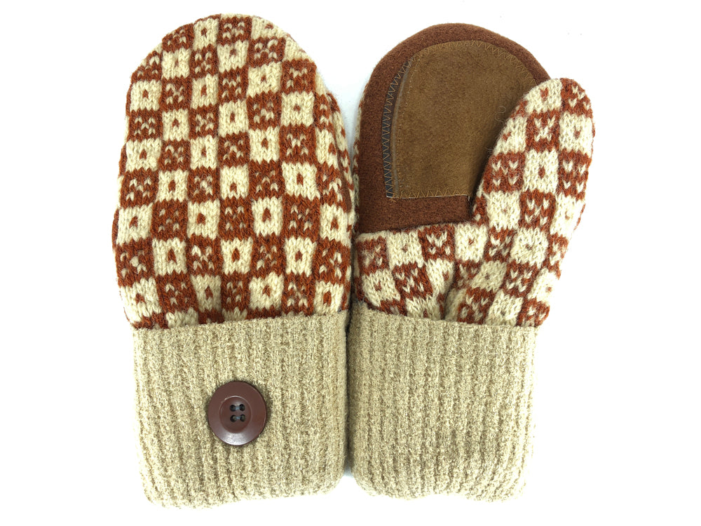 Brown-Beige Shetland Wool Women's Drivers Mittens - Medium - 2111