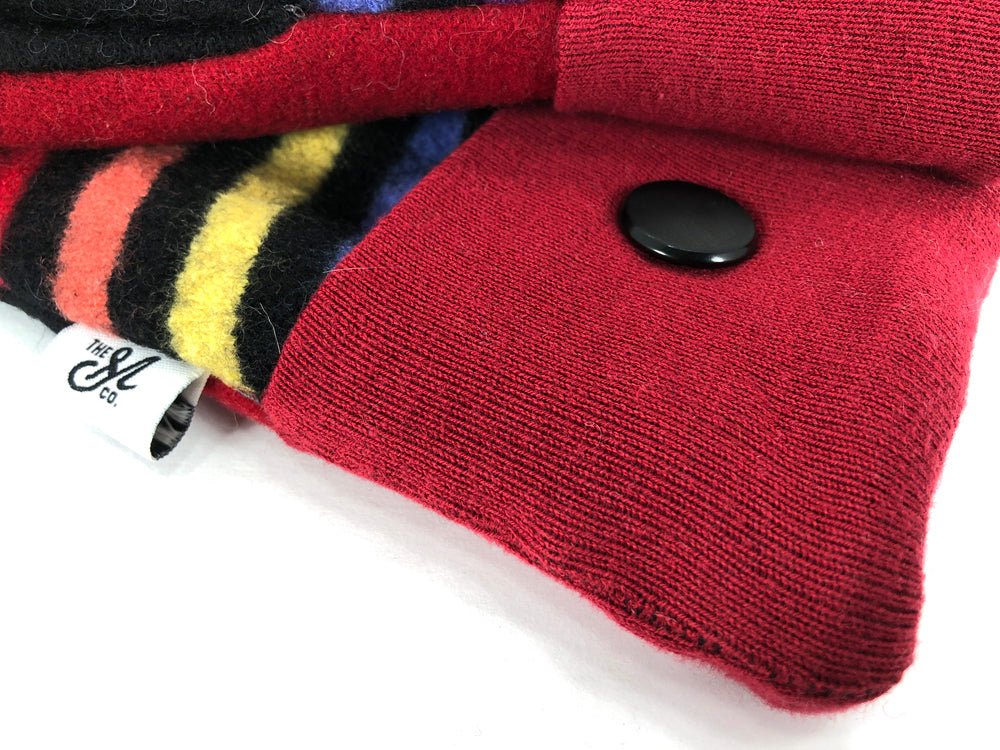 Red-Black-Blue Lambs Wool Women's Mittens - Medium - 2135-Womens-The Mitten Company