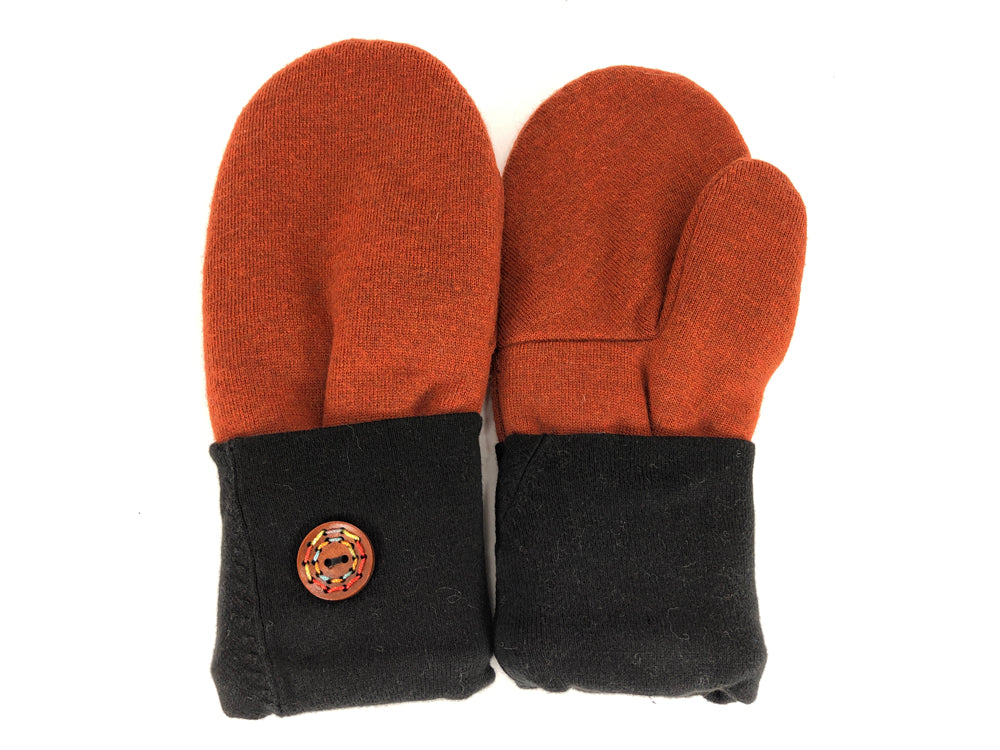 Orange-Black Merino Wool Women's Mittens - Medium - 2142-Womens-The Mitten Company