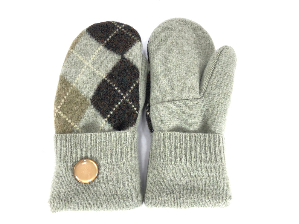 Green-Brown Merino Wool Women's Mittens - Medium - 2144