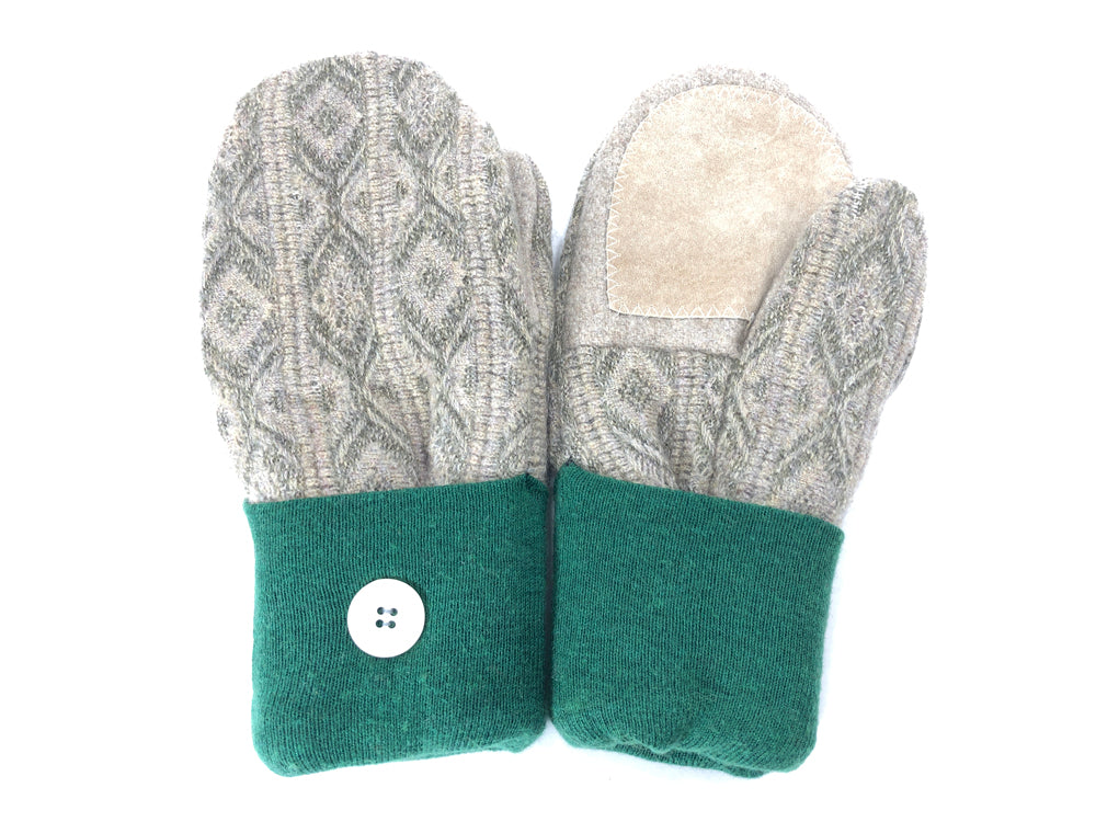 Green-Beige Lambs Wool Women's Drivers Mittens - Medium - 2150