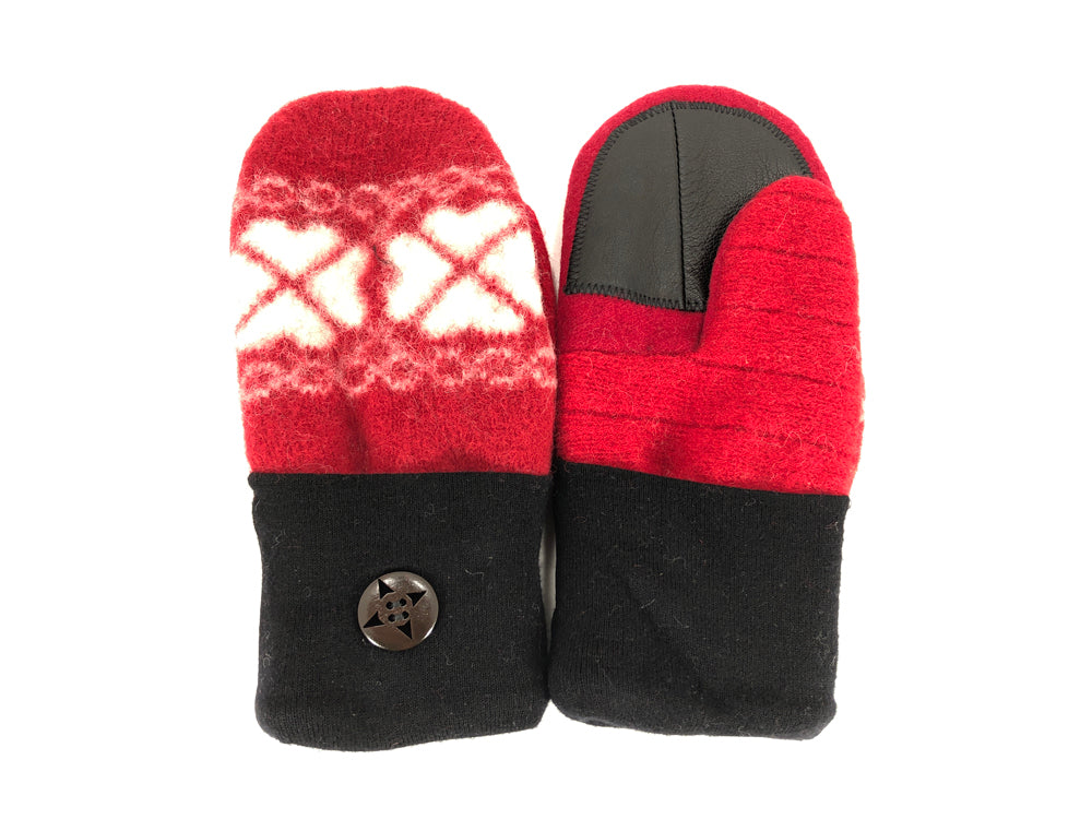 Red-Black-White Shetland Wool Women's Drivers Mittens - Medium - 2151-Womens-The Mitten Company