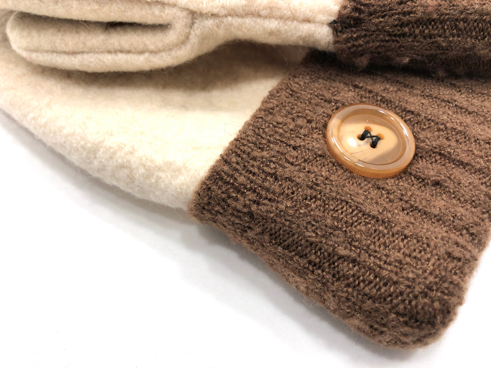 Brown-White Boiled Wool Women's Driver's Mittens - Medium - 2158